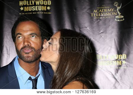 LOS ANGELES - APR 27:  Kristoff St John, Dana Derrick at the 2016 Daytime EMMY Awards Nominees Reception at the Hollywood Museum on April 27, 2016 in Los Angeles, CA