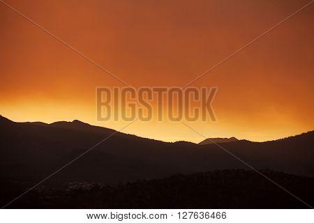 Sunset over Mount Wellington Hobart capital city of Tasmania Australia