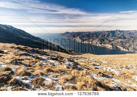 Panorama of Lake Garda (Italy) seen from the top of Mount Baldo.