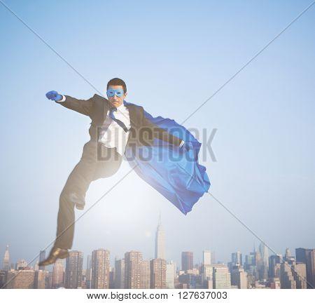 Superhero businessman over New York City.