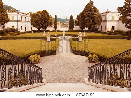 Vicenza Italy - May 13 2015: Park of Villa Cordellina Lombardi built in 18th century.