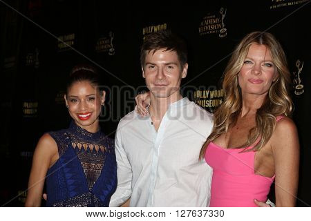LOS ANGELES - APR 27:  Brytni Sarpy, Robert Palmer Watkins, Michelle Stafford at the 2016 Daytime EMMY Awards Nominees Reception at the Hollywood Museum on April 27, 2016 in Los Angeles, CA