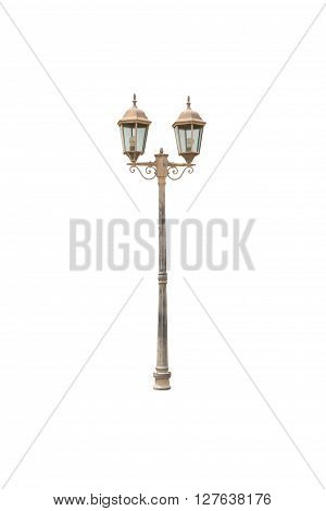 Old Light pole isolated on white blackgroud