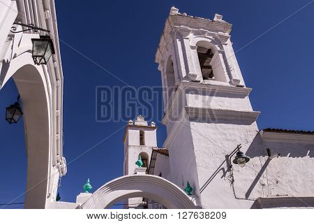 Sucre, Bolivia in September 2015: The beautiful white historic churches and houses of Bolivias capital city are a popular tourist attractions and namegiving to the white city