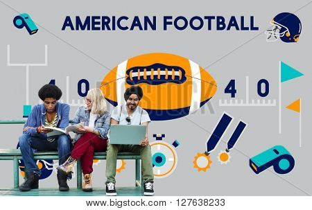 American Football Competition Game Goal Play Concept
