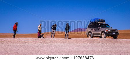 Eduardo Avaroa Andean Fauna National Reserve, BOLIVIA - September 20, 2015: A Jeep Tour through the Bolivian Salt Desert Uyuni is a popular touristic activity on the Altiplano in Bolivia.
