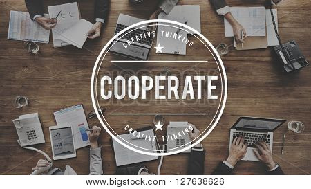 Cooperate Participate Partnership Teamwork Concept