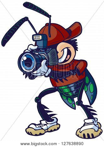 Cartoon vector clip art illustration of a shutter bug or insect mascot character holding a camera.
