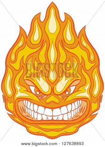 Vector Clip Art Cartoon Illustration of a Fireball Mascot with an Angry Face.