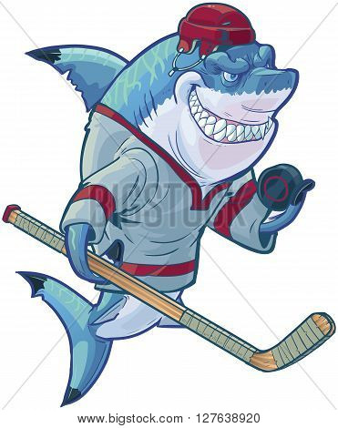 Vector cartoon clip art illustration of a tough mean smiling shark mascot wearing a hockey jersey and helmet while holding a stick and puck. Customizable accessories are on a separate layer in the vector file.