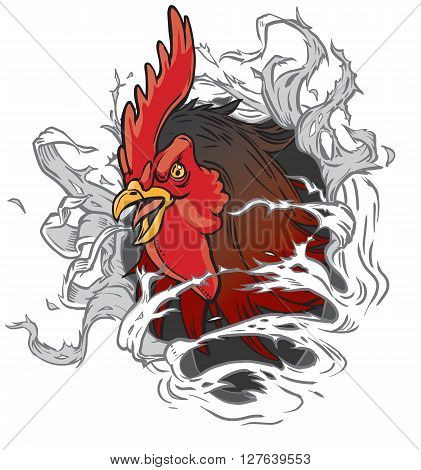 Vector cartoon clip art illustration of a realistic rooster or gamecock or chanticleer mascot head ripping through the background. Rooster head is on a separate layer for easy editing.