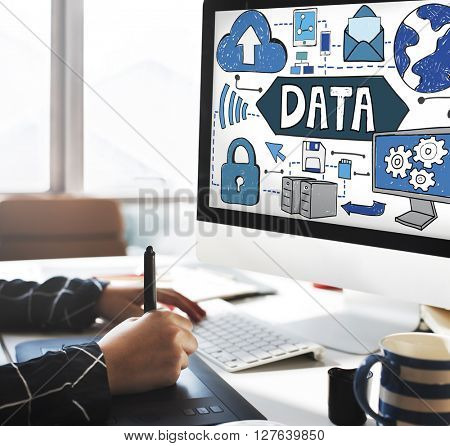 Data Storage Connection Upload Information Concept