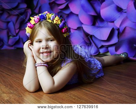 beautiful happy girl in the studio