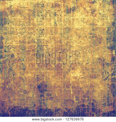 Abstract scratched background or frame with weathered grunge texture. Ancient style backdrop with different color patterns: yellow (beige); brown; blue; purple (violet); pink