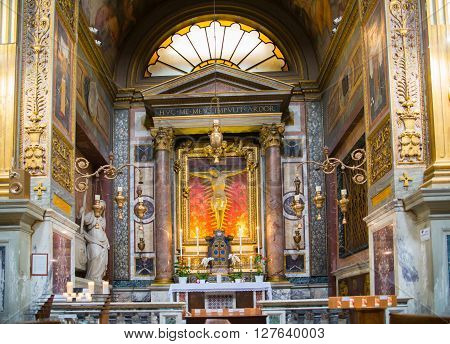 ROME, ITALY - APRIL 8, 2016:  Church S. Marcello al Corso. Interior