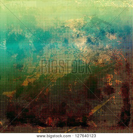 Creative grunge background in vintage style. Faded shabby texture with different color patterns: yellow (beige); brown; green; blue; cyan