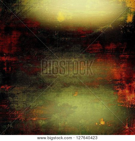 Aged background or texture. Vintage graphic composition with grunge style elements and different color patterns: yellow (beige); brown; gray; green; red (orange); black