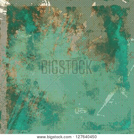 Aged vintage background with weathered texture, grunge design elements and different color patterns: yellow (beige); brown; gray; green; blue; cyan