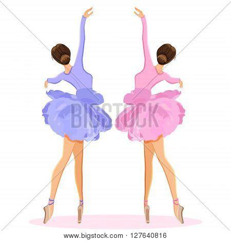Ballerina dancing on pointe ballet shoes in flower tutu skirt. Vector illustration set isolated on white background