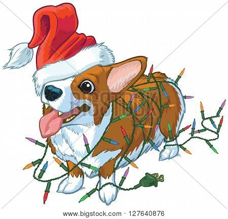 Vector cartoon clip art illustration of a cute and happy welsh corgi dog or puppy wearing a Santa Claus hat over one eye and tangled in colorful Christmas tree lights. Dog is on separate layers in the vector file.