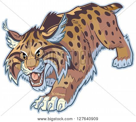 Vector cartoon clip art illustration of a hungry bobcat or wildcat mascot stalking its prey. This cat is crouched low with its mouth open and its front claws are out.