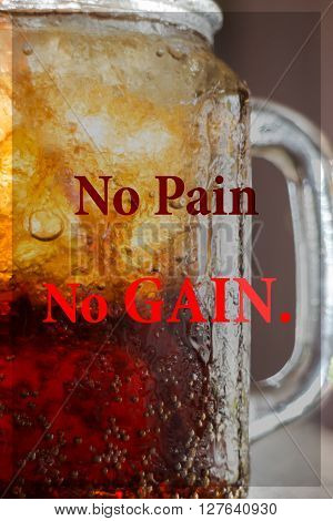 No pain no gain. Inspirational quote stock photo