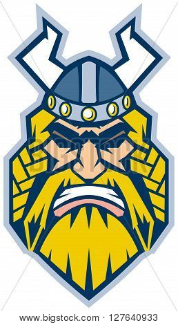 Vector Cartoon Clip Art Illustration of a Viking mascot head in a front view rendered in a graphic style