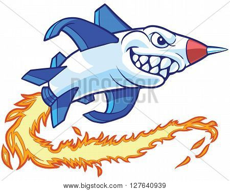 Vector cartoon clip art illustration of an anthropomorphic rocket or missile mascot with a shark mouth. It leaves a trail of flames as it flies.