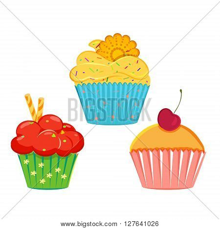 Set of vector cupcakes muffins with different toppings and cases. Cream topping with sprinkles cupcake collection isolated on white. Great as web icons design elements or labels wrapping paper