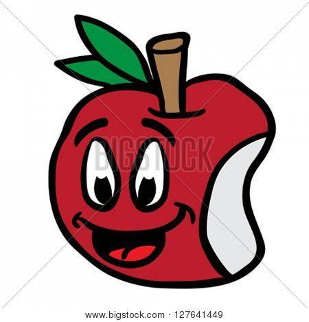 smiling apple cartoon illustration