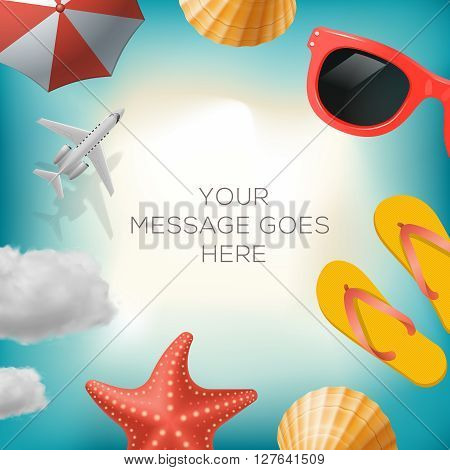 Summertime background with summer icons, airplane, sun umbrella, flip flops, sunglasses, star fish, shell, cloud, vector illustration.