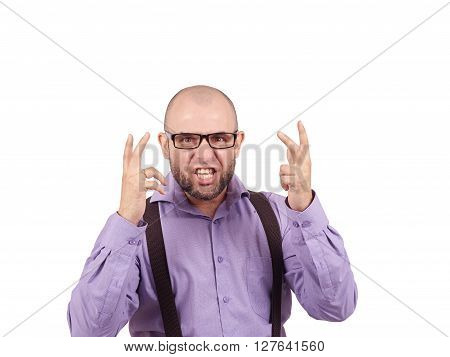 Angry Bald Man In Glasses.  Isolated On A White Background.