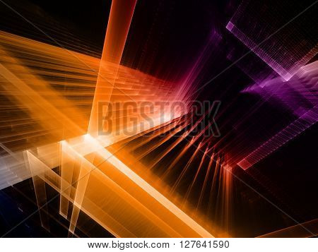 Abstract background element. Fractal graphics series. Three-dimensional composition of intersecting grids. Information technology concept. Orange and violet over black colors.