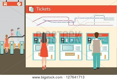 People buying a ticket for the train Train ticket vending machines wiyh Railway Map Entrance of railway station transportation vector illustration.