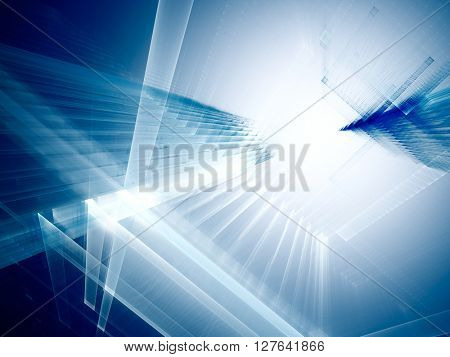 Abstract background element. Fractal graphics series. Three-dimensional composition of intersecting grids. Information technology concept. Blue colors.