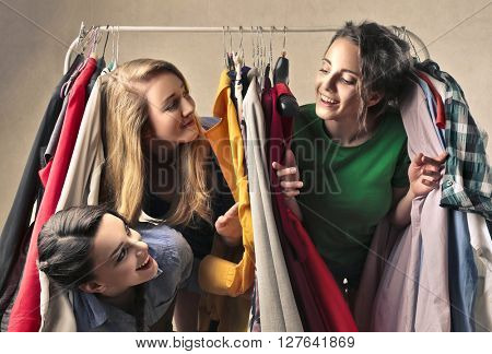 Friends looking for clothes