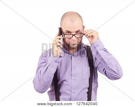 Bald Man Businessman Talking On Phone.
