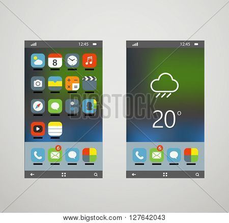 Modern smartphones with different application screens