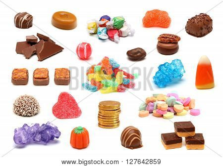 A collage of various candies and chocolates on a white background