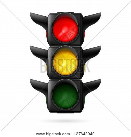 Realistic traffic lights with red and yellow lights on. Illustration on white background