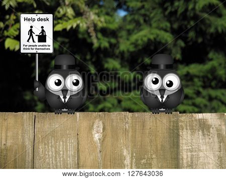 Comical common sense sign with birds perched on a timber garden fence against a foliage background