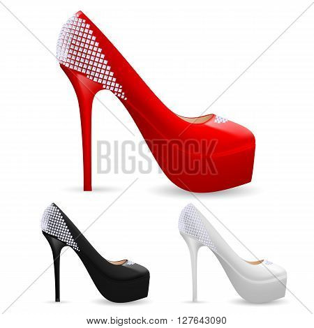 Set of fashionable high heel ladies shoes with sparkles in three colors