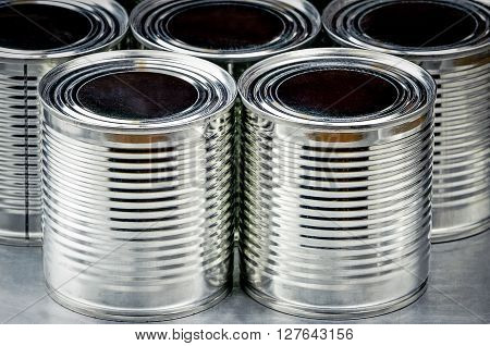 Close up of tin cans for food, Selective focus and color effect