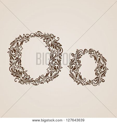 Handsomely decorated letter o in upper and lower case.