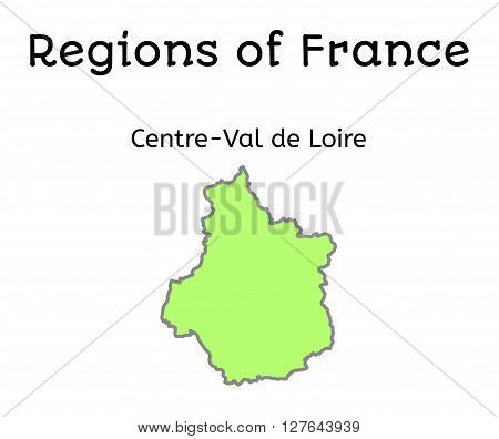 France administrative map of Centre-Val de Loire region on white