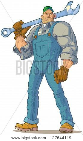 Vector Cartoon Clip Art Illustration of a big tough looking mechanic or engineer (or other type of handyman) holding a wrench.