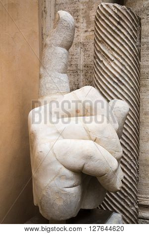 ROME, ITALY - APRIL 8, 2016: Right hand of the statue of Colossus of Constantine in the Capitoline Museum