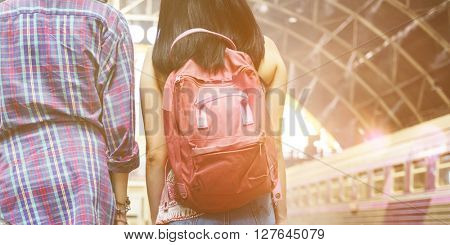 Girls Friendship Hangout Traveling Holiday Backpacker Concept