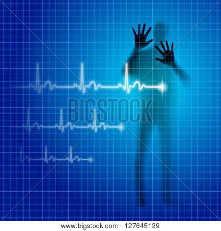 Shining medical background with human silhouette and cardiogram line