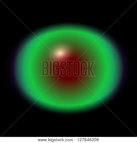Green Animal Eye With Large Pupil And Bright Red Retina In Background. Dark Green Iris Around Pupil,